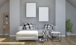 grauer Dachboden mit dem Modell mit zwei Plakaten lizenzfreie stockfotos