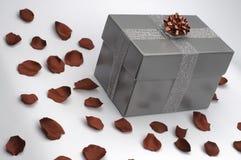 Grauer Geschenkkasten mit roten Rosen Stockfotografie