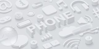 Grauer Hintergrund des Telefons 3d mit Netzsymbolen Lizenzfreies Stockfoto
