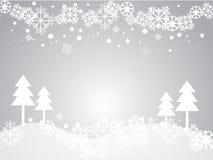 Grauer Hintergrund des Vektors mit Schneeflocken Vektor Abbildung