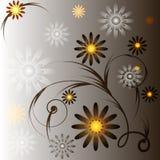Grauer Hintergrund mit Blumen Stockfotos