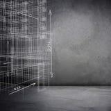 Grauer Hintergrund mit Skizze des Modells 3d Lizenzfreies Stockbild