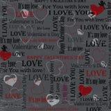 Grauer Hintergrund zum Valentinstag weinlese Set 5 Vektor Lizenzfreie Stockfotos