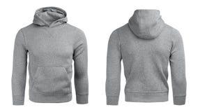 Grauer Hoodie, Sweatshirtmodell, lokalisiert auf weißem Hintergrund Stockfotografie