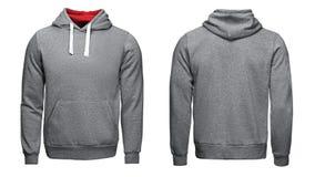 Grauer Hoodie, Sweatshirtmodell, lokalisiert auf weißem Hintergrund Lizenzfreie Stockbilder