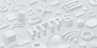 Grauer htpps 3d Hintergrund mit Netzsymbolen Lizenzfreies Stockfoto