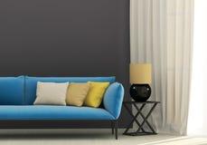Grauer Innenraum mit blauem Sofa Stockbild