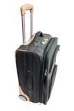 Grauer Koffer für Reise mit Kombinationsschlossisolat auf weißem Hintergrund Stockfoto