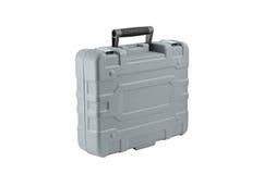 Grauer Kunststoffkoffer Stockbild