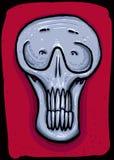 Grauer männlicher Schädel auf einem roten Hintergrund Stockfotografie