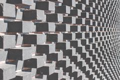 Grauer moderner Architekturhintergrund mit grauen konvexen Würfeln auf der Wand lizenzfreie stockfotos