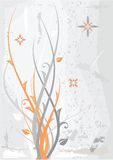 Grauer orange Blumenhintergrund Lizenzfreie Stockfotografie