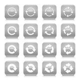 Grauer Pfeilrotationszeichenquadratikonen-Netzknopf lizenzfreie abbildung