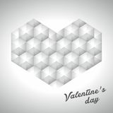 Grauer polygonaler Vektor des Valentinsgrußes 3d des Herzens Stockbild