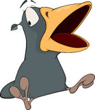 Grauer Rabe mit einem offenen Schnabel. Karikatur Lizenzfreies Stockfoto