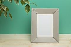 Grauer Rahmen mit Anlage auf Schreibtisch nahe grüner Wand stockfotos