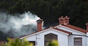Grauer Rauch, der fern vom Kamin steigt stock footage