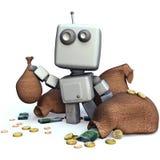 Grauer Roboter mit unbelegten Rahmen Stockfotos