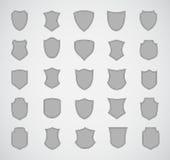 Grauer Schattenbildschild-Designsatz von verschiedenem Lizenzfreies Stockbild