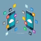 Grauer Steigung-Hintergrund Handys mit apps Ikonen Stockfoto