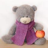 Grauer Teddybär in einem purpurroten gestrickten Schal, der einen Apfel hält stockfotos