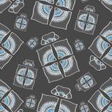 Grauer und blauer dekorativer Präsentkarton des nahtlosen Musters Lizenzfreie Stockfotografie
