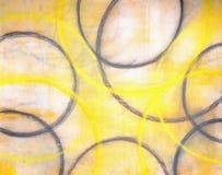 Grauer und gelber abstrakte Kunst-Anstrich Stockfotos