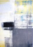 Grauer und gelber abstrakter Art Painting lizenzfreie stockbilder