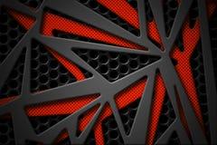 Grauer und orange Kohlenstofffaserrahmen auf schwarzem Maschenkohlenstoff backgrou Lizenzfreies Stockbild