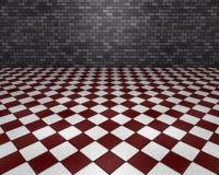 Grauer und roter Raum Stockfotografie