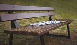 Grauer vergessener Regenschirmspazierstockregen auf einer Bank in Herbst Park, Abschluss oben lizenzfreie stockfotos