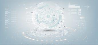 Grauer weißer abstrakter Technologiehintergrund mit verschiedenen Technologieelementen in der Art HUD lizenzfreie abbildung