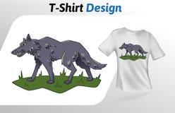 Grauer Wolf, der auf Grast-shirt Druck geht Spott herauf T-Shirt Designschablone Vektorschablone, lokalisiert auf weißem Hintergr Lizenzfreies Stockfoto