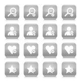 Grauer zusätzlicher Zeichenquadratikonen-Netzknopf Lizenzfreies Stockfoto
