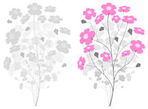 Grauer Zweig mit rosafarbenen Blumen stock abbildung