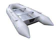 Graues aufblasbares Boot mit Pfad lizenzfreie stockfotos