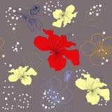 Graues dekoratives nahtloses Muster mit Lilienblumen Lizenzfreies Stockfoto