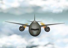 Graues Flugzeugfliegen durch die Wolken lizenzfreie abbildung