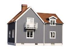 Graues Haus getrennt auf weißem Hintergrund Stockbilder