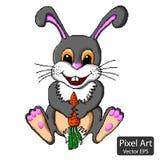 Graues Kaninchen mit Karotte Lizenzfreie Stockfotografie
