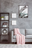 Graues Sofa mit rosa Bettdecke stockbild
