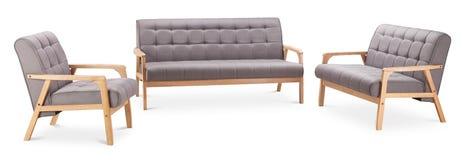 Graufarbdoppeltsofa, dreifaches Sofa und grauer Farblehnsessel Modernes Designersofa und -lehnsessel auf weißem Hintergrund Texti lizenzfreies stockbild