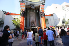 Grauman's chinese theatre, Hollywood, Los Angeles, usa. LOS ANGELES, CALIFORNIA - APRIL 12, 2015 : exteriors of the Grauman's chinese theatre, in Hollywood, Los stock images