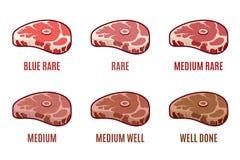 Graus de cozimento do bife , Bem, bem cozido azul, raro, médio Ícones do bife ajustados Imagens de Stock Royalty Free