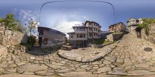 360 graus de panorama da cidade velha em Plovdiv, Bulgária Imagem de Stock Royalty Free
