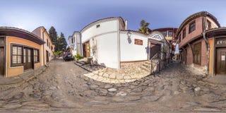360 graus de panorama da cidade velha em Plovdiv, Bulgária Fotografia de Stock Royalty Free