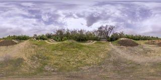 360 graus de panorama de uma trilha da bicicleta em Plovdiv, Bulgária Foto de Stock