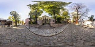 360 graus de panorama do Casa-museu Zlatyu Boyadzhiev no Pl Imagem de Stock Royalty Free