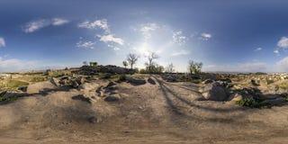 360 graus de panorama do tepe de Nebet em Plovdiv, Bulgária Imagens de Stock