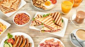 45 graus de vista do café da manhã inglês Imagens de Stock